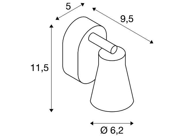 SLV AVO wandlamp Single zwart 1xGU10