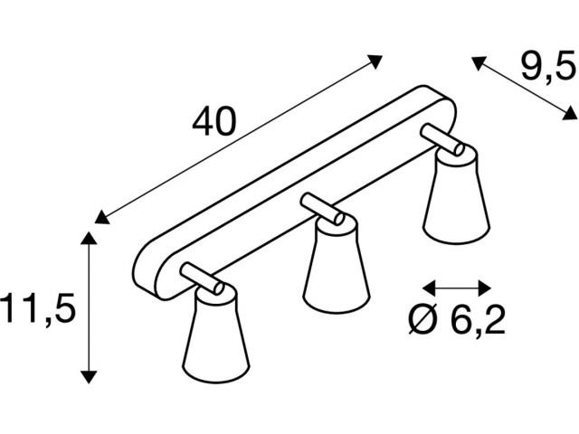 SLV AVO wandlamp Triple wit 3xGU10