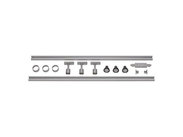 SLV 1-Fase Spanningsrail Set 3 x PURI zilvergrijs