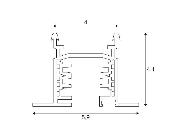 SLV 3-Fase Spanningsrail wit 2m, inbouw