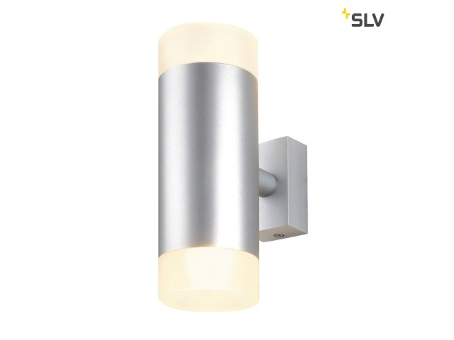 SLV ASTINA UP-DOWN zilvergrijs/glas gesat. 2xGU10