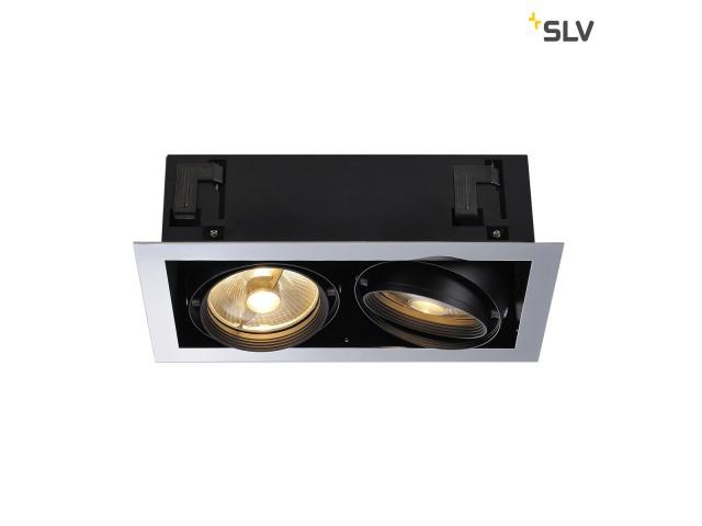 SLV AIXLIGHT FLAT DOUBLE ES111 chroom/zwart 2xGU10