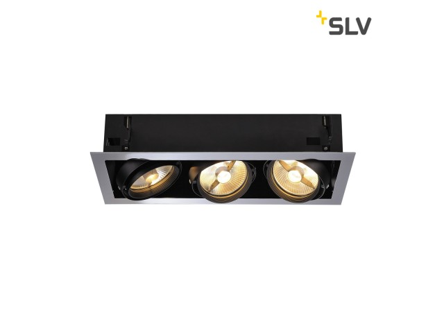 SLV AIXLIGHT FLAT TRIPLE ES111 chroom/zwart, 3xGU10