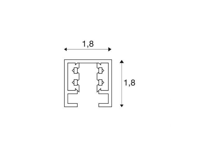 SLV D-TRACK 2-Fase Spanningsrail wit 3m