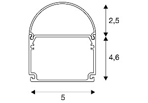 BIG WHITE GLENOS Industrial profiel Dome mat zwart 2m (214430) Profielen van SLV