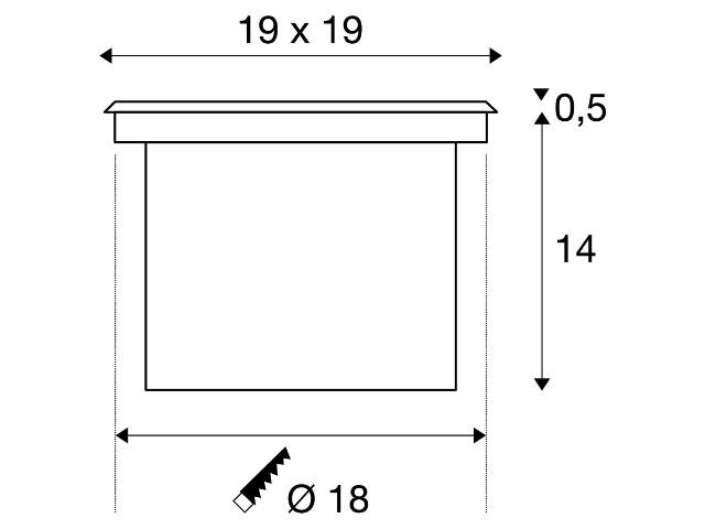 SLV ADJUST 190 vierkant edelstaal 1xG53