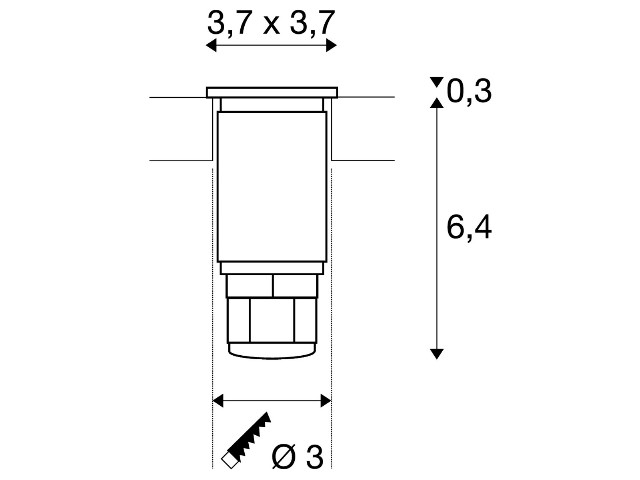 SLV DASAR MINI 37 vierkant edelstaal 1xLED 3000K