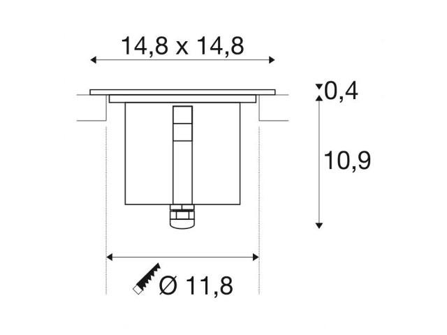 SLV DASAR 150 PREMIUM vierkant 1xLED 3000K 60gr