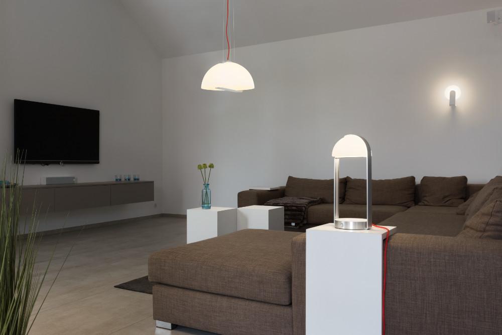 BRENDA, table lamp + WL USB, LED, white/silver